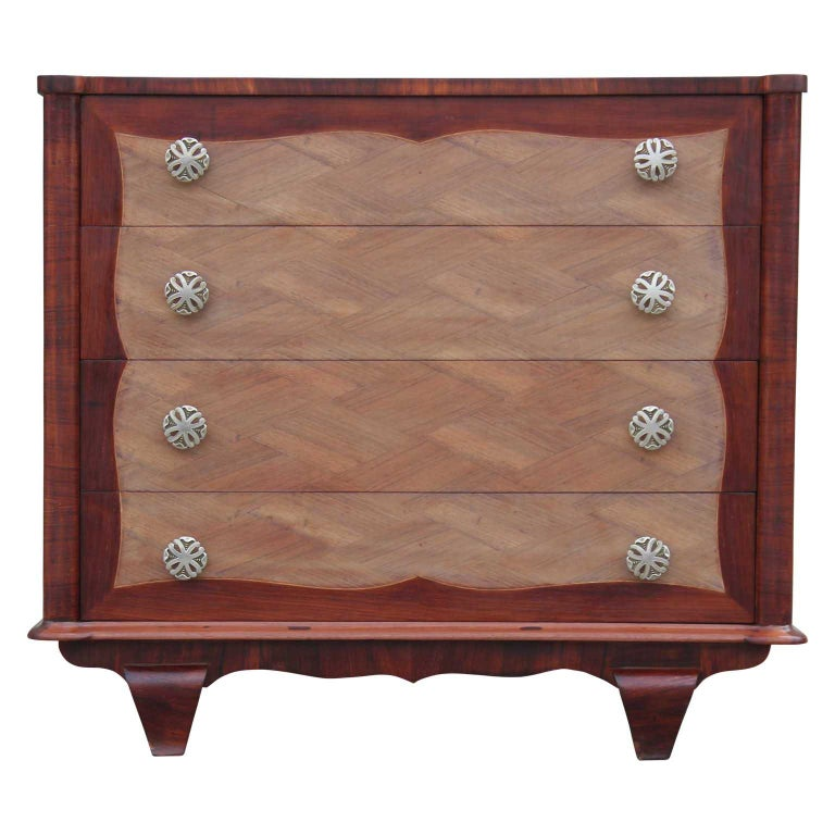Modern Four-Drawer Italian Parquetry Restored Rosewood Chest For Sale
