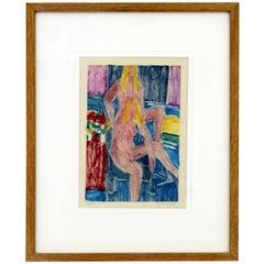 Modern Framed Nudes Hand Painted Linocut Monotype Signed Matt Phillips, 1970s