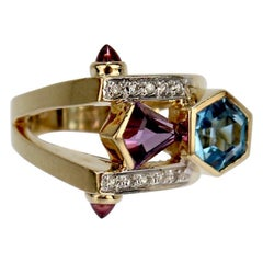 Modern Frank Ellman Blue Topaz, Amethyst Diamond and 14 Karat Gold Cocktail Ring