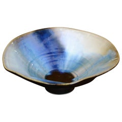 Modern Freeform Drip Glaze Gray, Blue & Black Pottery Ceramic Bowl Studio Piece