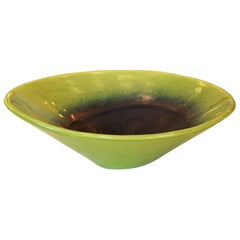 Modern Freeform Drip Glaze Green, Blue & Black Pottery Ceramic Bowl Studio Piece