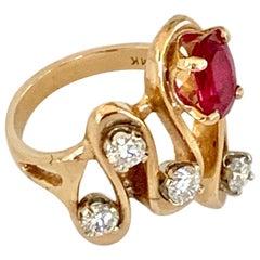 Modern Freeform Ruby and Diamond 14 Karat Yellow Gold Ring - Size 6