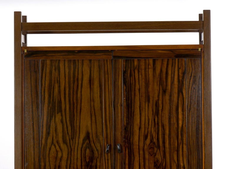 Modern Freestanding Dovetailed Mahogany and Ebony Bookcase Cabinet by John Hein For Sale 6