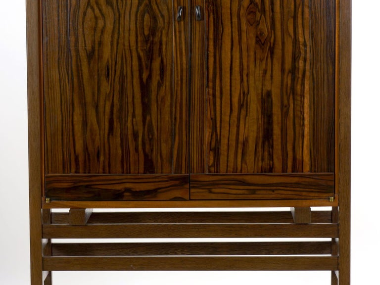 Modern Freestanding Dovetailed Mahogany and Ebony Bookcase Cabinet by John Hein For Sale 7