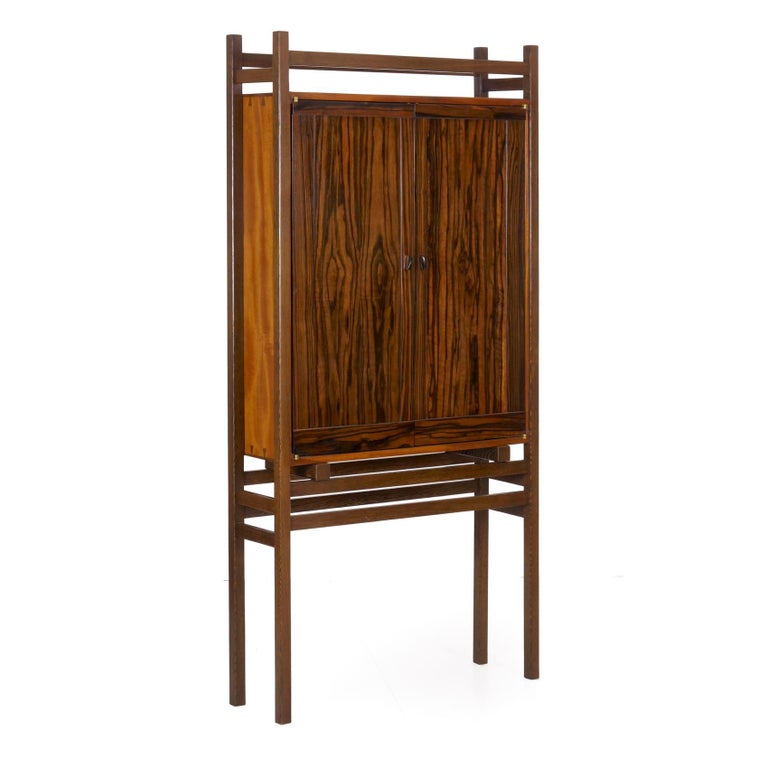 Modern Freestanding Dovetailed Mahogany and Ebony Bookcase Cabinet by John Hein For Sale