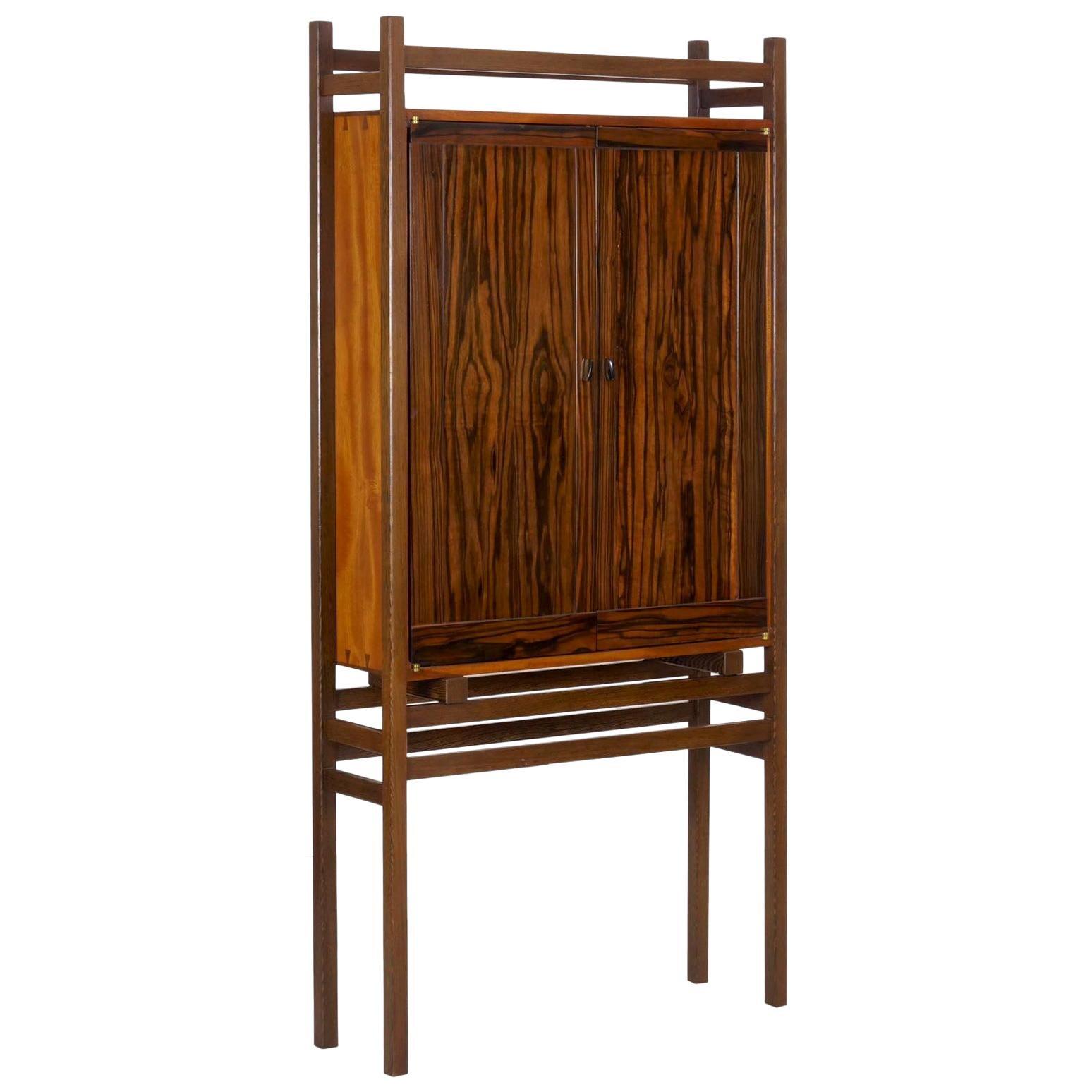 Modern Freestanding Dovetailed Mahogany and Ebony Bookcase Cabinet by John Hein