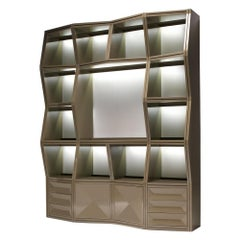 Modern Freestanding Wooden Bookcase with LED Lighting and Drawers