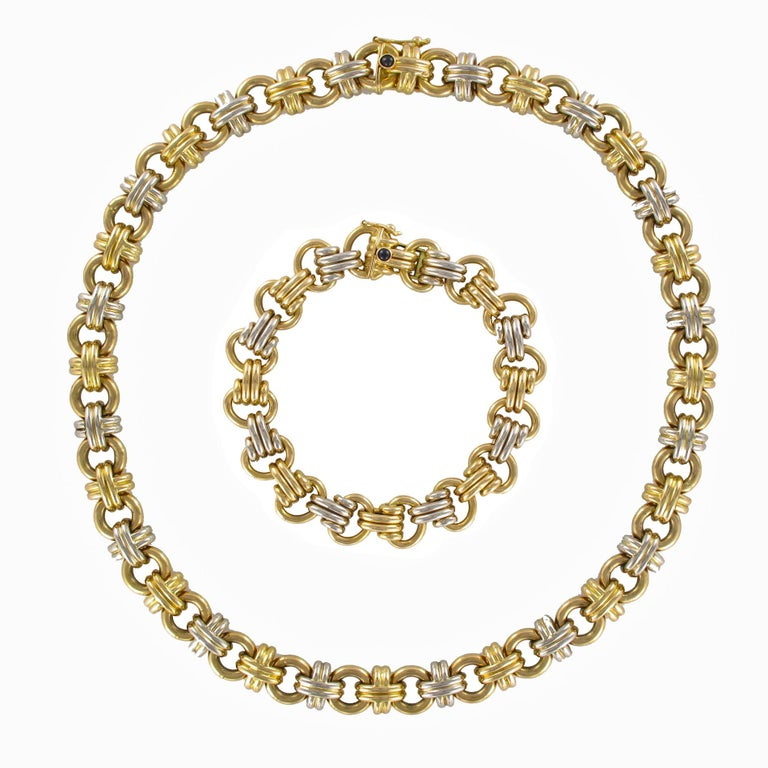 Modern French 18 Karat Yellow White Gold Caplain Link Necklace For Sale 8