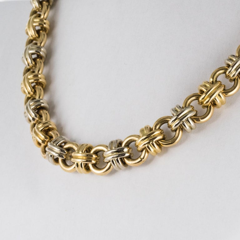 Modern French 18 Karat Yellow White Gold Caplain Link Necklace In Excellent Condition For Sale In Poitiers, FR