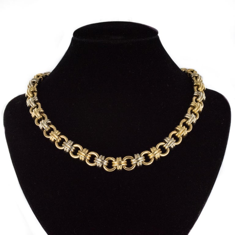 Modern French 18 Karat Yellow White Gold Caplain Link Necklace For Sale 2