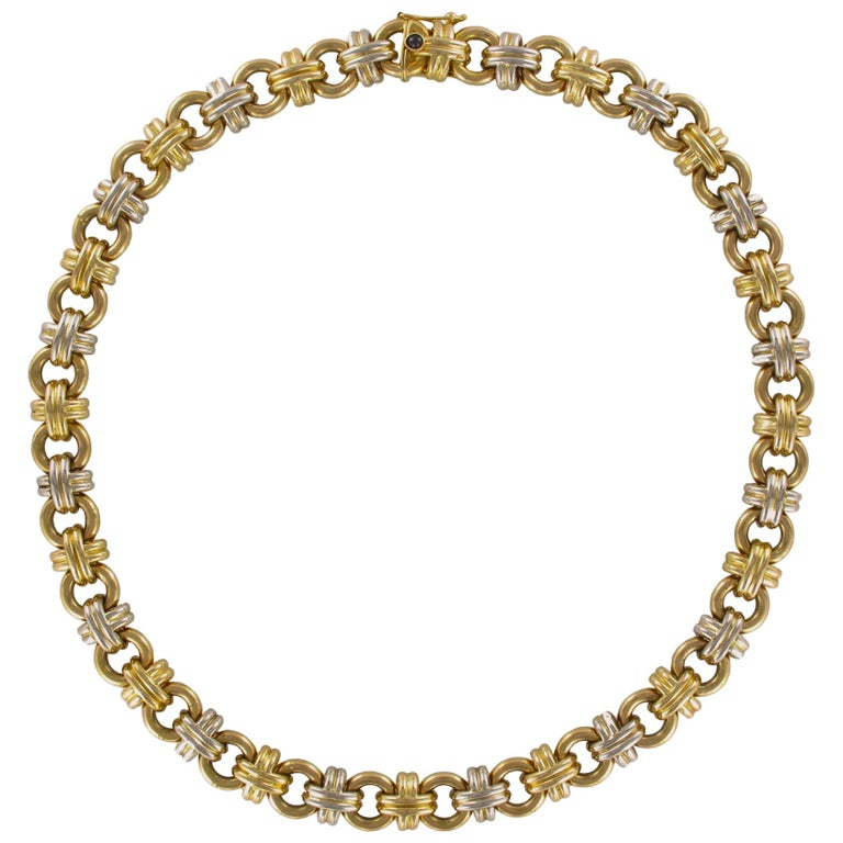 Modern French 18 Karat Yellow White Gold Caplain Link Necklace For Sale