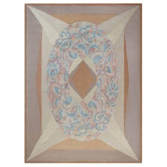 Modern French Art Deco Style Beige, Blue, Brown and Purple Rug