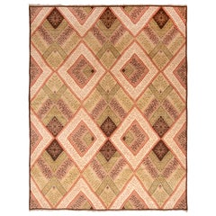 Modern French Country Transitional Pink and Green Wool Rug