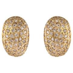 Modern French Diamonds 18 Karat Rose Gold Curved Earrings