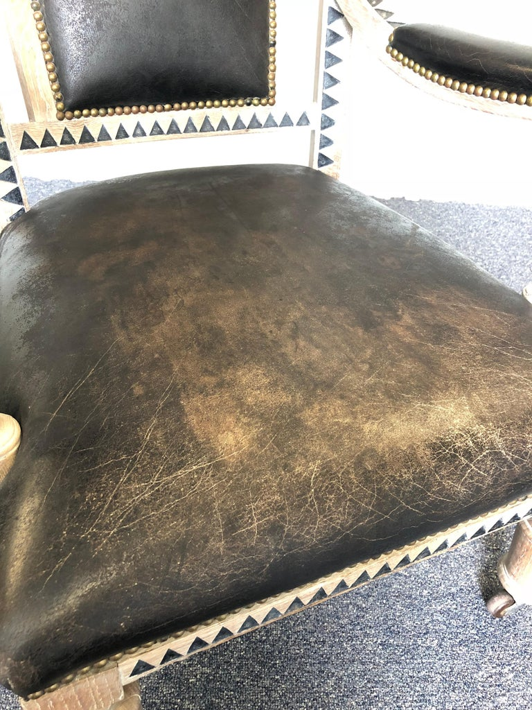 Leather Modern French Empire Armchair For Sale