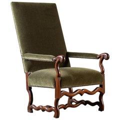 Modern French Louis XIII Os de Mouton Leg Chair, circa 2000