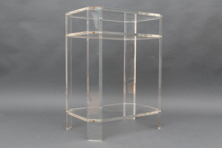 Modern French Lucite Étagère Three Shelves by David Lange In Good Condition For Sale In Paris, FR