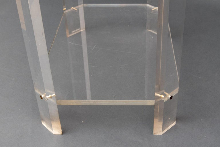 Modern French Lucite Étagère Three Shelves by David Lange For Sale 2