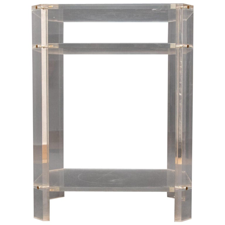 Modern French Lucite Étagère Three Shelves by David Lange For Sale
