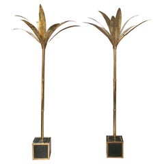 Modern French Pair of French Brass Palm Trees with Ceramic Panelled Square Base