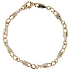 Modern French Stirrup Mesh 18 Karat Yellow White Gold Bracelet