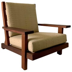 Modern French Teak High-Back Lounge Chair