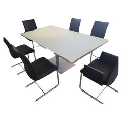 Modern Frosted Glass Dining Room Set with Black Leather Chairs
