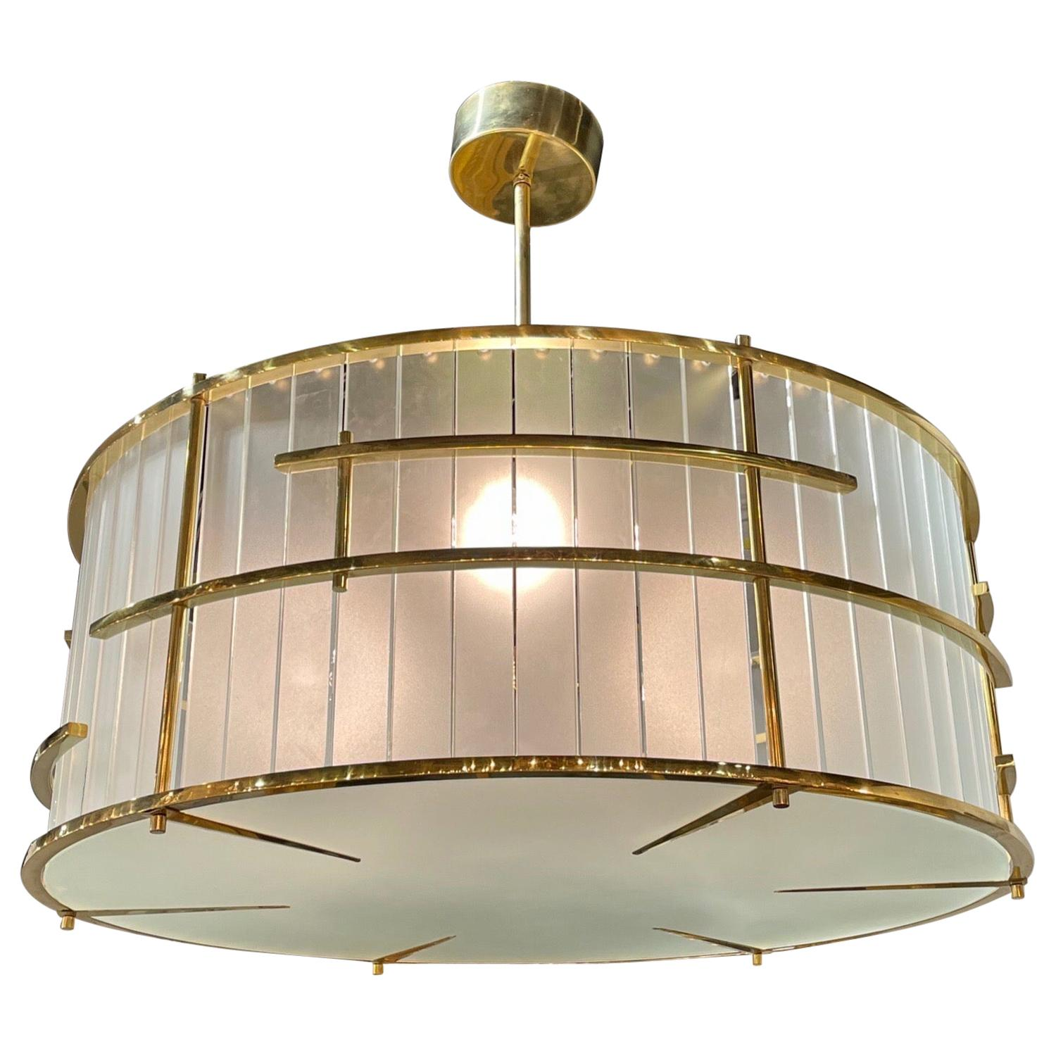 Modern Frosted Murano Glass and Brass Chandelier