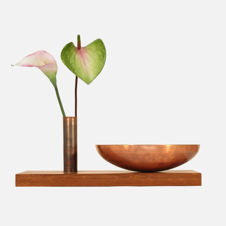 Copper and wood fruit bowl, Modern styled. By Brazilian Designer Maker Atelier BAM. It is formed inspired by the iconic modern architecture by Oscar Niemeyer, the Palacio Nereu Ramos in Brasilia, and easily fit into modern and midcentury