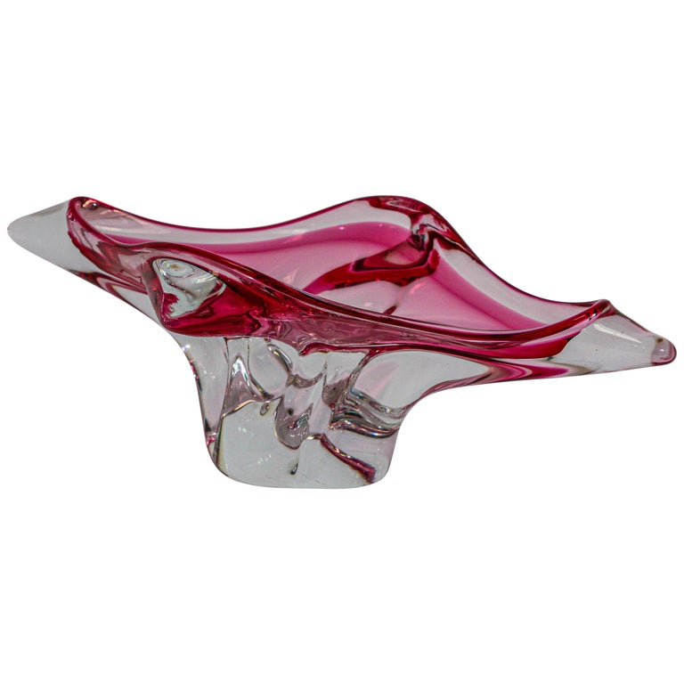Modern Fuschia Large Decorative Hand Blown Murano Glass Bowl For Sale