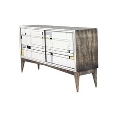 Modern Fuscous Walnut Scandinavian Sideboard with Hand Painted Pattern, 1960s