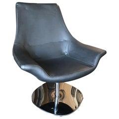 Modern Futurist Captains Lounge Chair with Chrome Base, circa 1980
