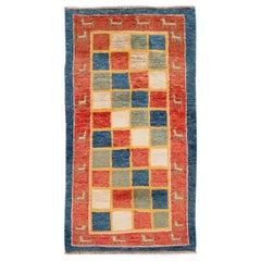 Modern Gabbeh Checked Persian Handmade Wool Rug