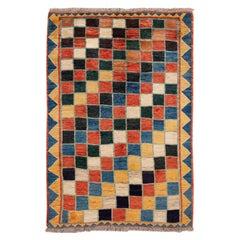 Modern Gabbeh Colorful Persian Handmade Wool Rug