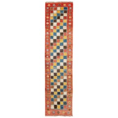 Modern Gabbeh Colorful Persian Handmade Wool Runner