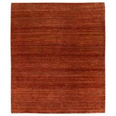 Modern Gabbeh Handmade Striped Copper Wool Rug