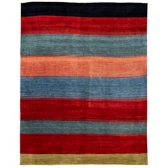 Modern Gabbeh Striped Persian Handmade Wool Rug