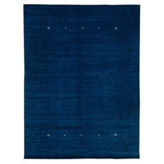 Modern Gabbeh Style Hand-Loom Minimal Design Navy-Blue Solid Wool Rug