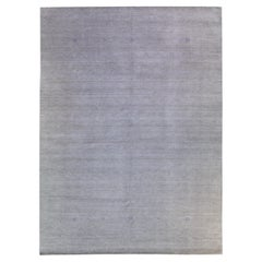 Modern Gabbeh Style Hand-Loom Minimal Pattern Light Gray Wool Rug