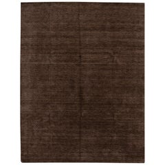 Modern Gabbeh Style Handloom Brown Geometric Wool Rug