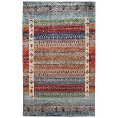 Modern Gabbeh Style Handmade Multicolor Geometric Wool Rug