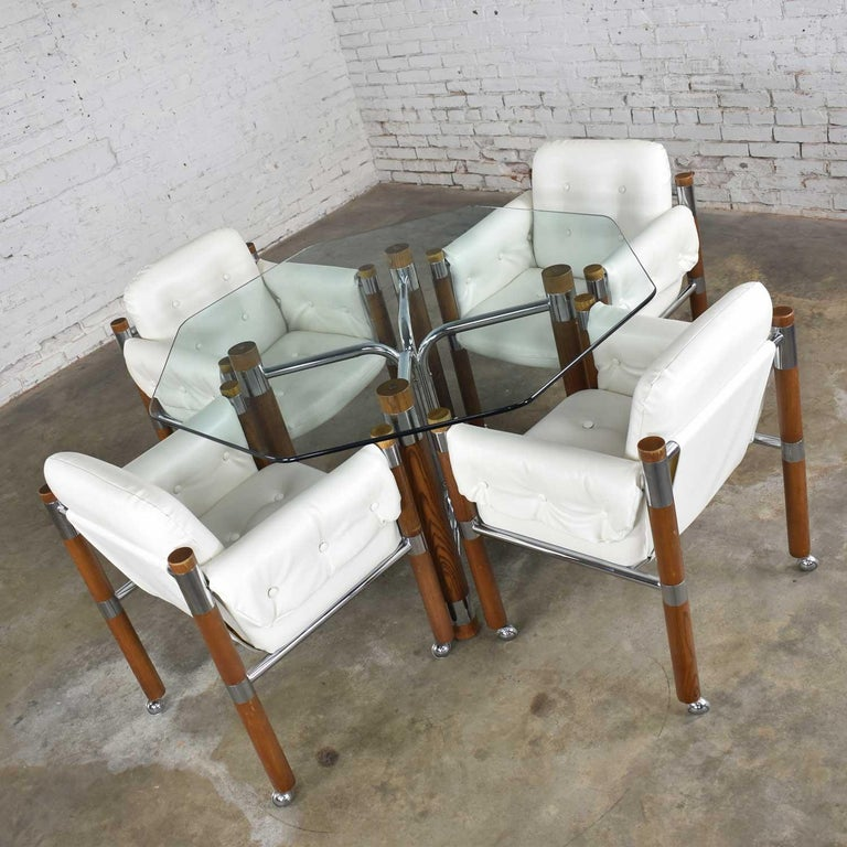 Modern Game Table Or Dining Table Glass Chrome Oak With Four White Rolling Chair For Sale At 1stdibs