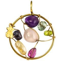 Modern Gemstones 18 Karat Yellow Gold Tous Pendant