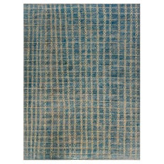 Modern Geometric Beige and Blue, Hand Knotted Wool Pile Rug