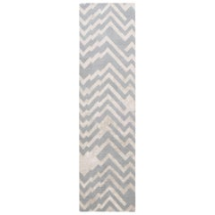 Modern Geometric Beige and Gray, Hand Knotted Silk and Wool Runner