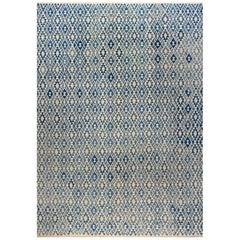 Modern Geometric Blue & Beige Flat-Woven Wool Rug