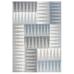 Modern Geometric Blue, Gray and White Flat-Woven Wool Rug
