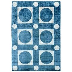 21st Century Geometric Blue and White Handmade Silk Rug