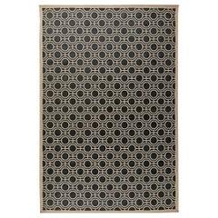 Modern Geometric Design Handmade Wool Rug in White and Black Shades