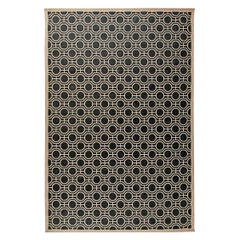 Modern Geometric Design Handmade Wool Rug in White and Black Shades